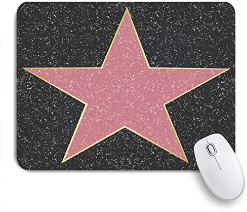 Dekoratives Gaming-Mauspad,Leerer Ort Erinnern Sie sich an Star Grunge Beliebte leere Namen Walk Actor Cinema Fame Los Performer Floor,Bürocomputer-Mausmatte mit rutschfester Gummibasis