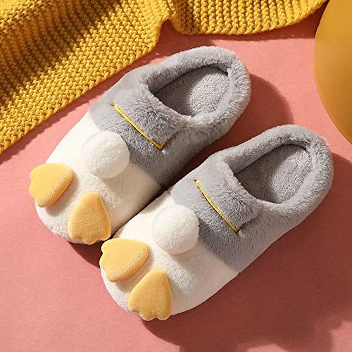 ypyrhh Zapatos de piel sintética de interior,Zapatillas de pareja de felpa, deslizadores de algodón antideslizantes interiores-gris claro _39-40,Cozy Coral Fleece Slip-on House Shoes withAnti