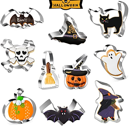 Formine Biscotti Halloween, 10 Pezzi Stampini Biscotti Halloween Stampi Biscotti Halloween Zucca Tagliabiscotti, per Biscotti Frutta Torta Festa Halloween.
