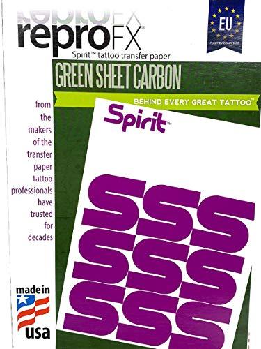 10 Stück TATTOO Matritzenpapier EU Spirit Green - Sheet Freehand - INKgrafiX® Deutschland - PROFI STUDIO IG04802 Stempel Papier Abdruck Matritzen Freihand