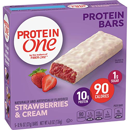 Protein One, Strawberries and Cream Protein Bars, Keto Friendly, 5 ct (Pack of 12) Delaware