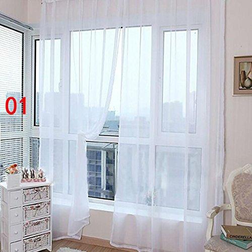STRIR 1 unids tul blanco puro puertas y ventanas cortinas bufandas cortinas (200cm x 100cm) (A)