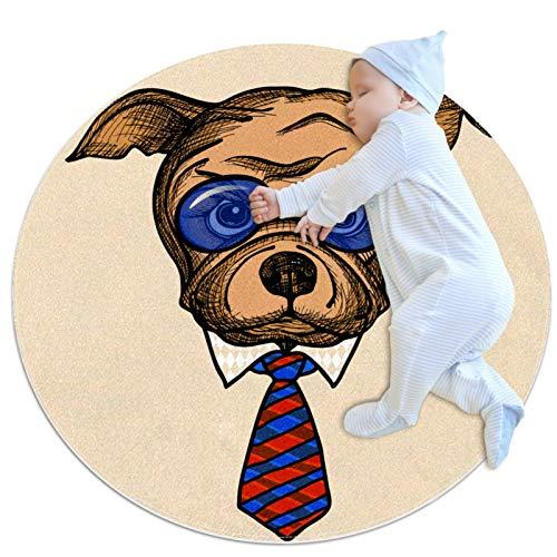 Alfombra de área redonda Alfombra Bulldog con gafas de sol azules y corbata Alfombrilla antideslizante de 31,5 pulgadas de diámetro para sala de estar, dormitorio