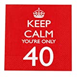 Neviti - Tovaglioli di Carta Keep Calm You're Only 40'