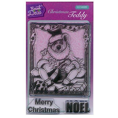 Sweet Dixie Weihnachts-Teddy durchsichtiges Stempelset, Synthetisches Material, 15 x 10.5 x 0.3 cm