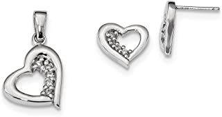 Sterling Silver Polished Post Earrings Rhodium-plated Cubic Zirconia Heart Earring and Pendant Set