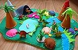 Spielmatte ausFilz mit 6 Dinosauriern Spiellandschaften für Kinder Reisespielzeug Aktivität für Kleinkinder Montessori