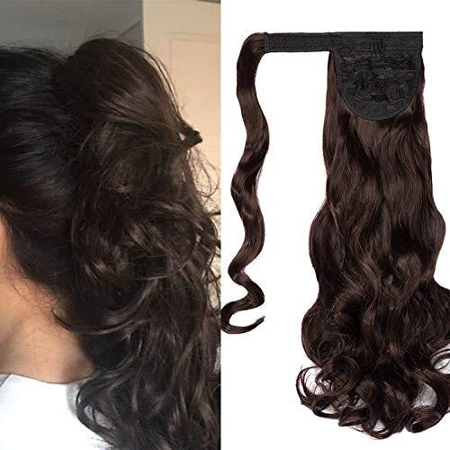 Extensiones de Clip de Pelo Natural Coleta Postiza Extensiones de Cabello Rizadas Ponytail Largo Clip in Hair Extension Cola Wrap Around (Marron oscuro&Castaño oscuro)