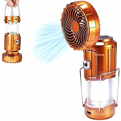 massager Luz de Ventilador eléctrica Solar al Aire Libre, 3 métodos de Carga LED Lámpara de Camping, Portátil Ajustable 2 en 1 Formador de Techo de Camping Luz