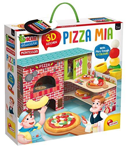 Lisciani Giochi- Montessori Pizza Mia 3D Kit con Plastilina, Stampini e Accessori, Multicolore, 76833