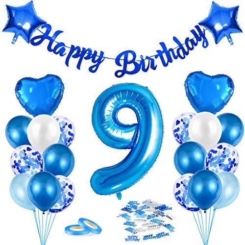 Luftballon 9. Geburtstag Blau, Deko 9. Geburtstag, Geburtstagsdeko 9 Jahr Junge, Riesen Folienballon Zahl 9, Happy Birthday Girlande Folienballon Zahl 9 für Kinder Junge