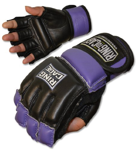 Womens MMA Kickboxing Fitness Bag Gloves - Purple or Pink Color - Small or Medium Size (Puprle, Small)