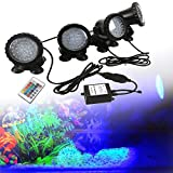 GreenSun LED Lighting Lampadine spot, subacquea Illuminazione Acquario RGB 36LEDs con telecomando per acquario, stagno, vasca, fontana, prato, 4 pezzi in 1 set