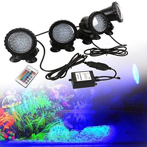 GreenSun LED Lighting Spot Lampe Unterwasser RGB Aquarium Beleuchtung 4 in 1 Aquariumlampe 36LEDs Strahler Teichlampe Teichstrahler Teichlampen Dekorative für Fisch Tank Aquarium