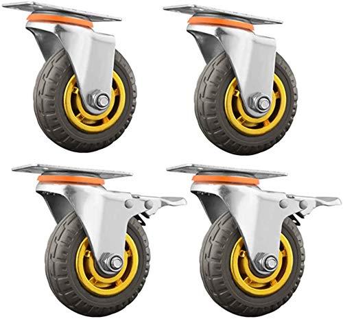 Knoijijuo Ruedas 4X Rodillos Pesados TPU Rodillos industriales con Freno Universal 360 ° tranquilas Rodillos permanentemente Carro 3