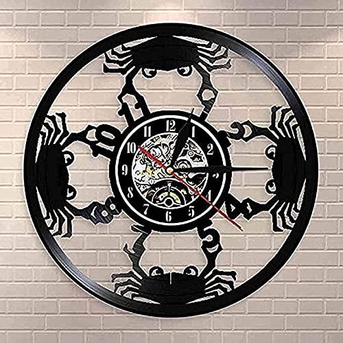 TeenieArt Cangrejo Animal Marino Reloj de Pared de Vinilo para decoración de Home Reloj de Pared, Ideas de Regalo para niños y Adolescentes, Moderno Reloj de Cuarzo Digital Creativo de 12inch