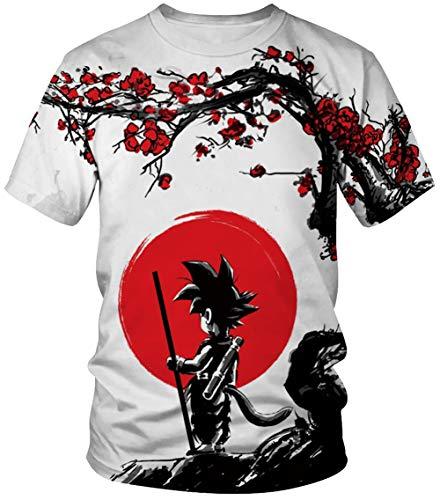 HUASON Dragon Ball Series Camiseta Hombre 3D Impresión Creativa Sencilla de Manga Corta 90% Poliéster 10% Spandex Verano de Manga Corta(L)