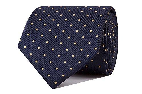Sologemelos - Cravate Pois - Bleu Jaune 100% soie naturelle - Hommes - Taille Unique - Confection artesanale Made In Italy