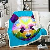 Manta de forro polar con diseño de panda de dibujos animados para niños y niñas, manta de felpa con temática de zoológico y naturaleza, para sofá cama, tamaño King de 87 x 94 pulgadas
