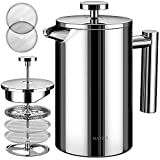 BAYKA French Press Coffee Maker, Stainless Steel 21oz Double-Wall Metal Insulated Coffee Tea Makers with 4 Level Filtration System, Rust-Free, Dishwasher Safe