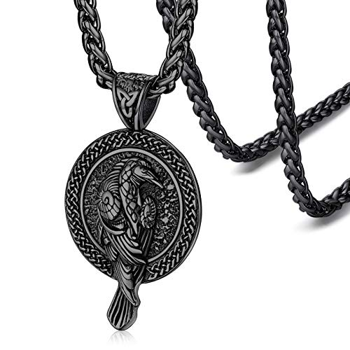 FaithHeart Vintage Raven Pendant Necklace Norse Viking Jewelry for Men Women Celtic Knot Pagan Necklaces-Black