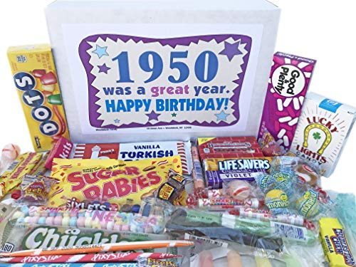 Woodstock Candy ~ 1950 70th Birthday Gift Box Nostalgic Retro Candy Assortment from Childhood for 70 Year Old Man or Woman Born 1950 Jr