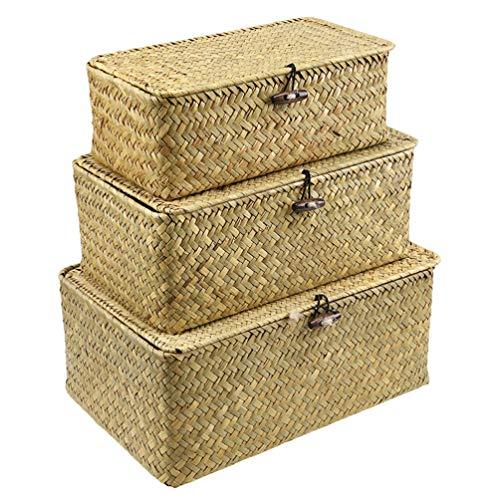 WINOMO Cesta de almacenamiento de paja rectangular con tapa, caja de almacenamiento, cesta de almacenamiento de tejido organizador multifuncional para habitaciones, cocina, baño, mesa, tamaño S, M, L