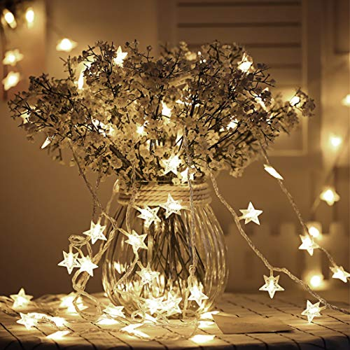 Tencoz Star String Lights, Battery Operated Star Fairy Lights, Twinkle Lights with 50 LED for Bedroom Curtain Wedding Birthday Holidays Rooms, Warm White