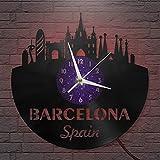 Barcelona - Reloj de Pared LED con Disco de Vinilo de 12...