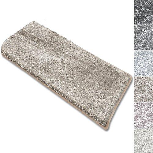 casa pura Stufenmatten Sundae | viele Varianten | Treppenteppich mit kuschlig weichem Flor | kombinierbar mit passenden Läufern | Beige - Rechteckig - 15 Stück Set