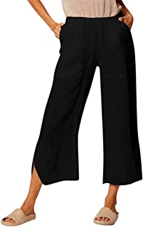 Sceoyche The Fashion Women's Casual Pockets Solid Cotton Pants