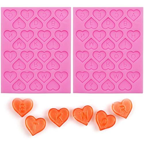 YUESEN Stampo in Silicone a Forma di Cuore 2 PCS Stampi in Silicone per Dolci, 26 Lettere dell Alfabeto Stampo Cioccolatini Cuore Ideale per San Valentino