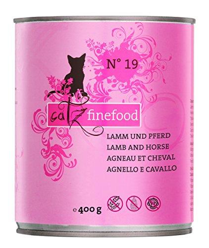 catz finefood N° 19 Lamm & paard fijn kost kattenvoer nat en verfijnd met courgettes & tomaat, verschillende maten 85 g-800 g, 6 x 800g Dosen