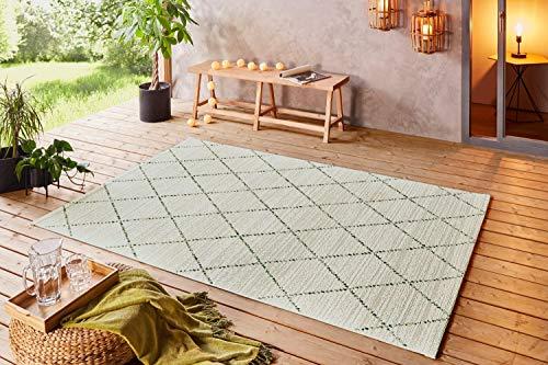 Große Auswahl Moderner Design Outdoor Teppich Wetterfest regensicher schmutzabweisend für Innenbereich und Außenbereich für Garten Balkon Terrasse Wohnzimmer 160x230 cm Größe (Grün Creme-103844)