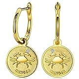 FANCI Regalos Pendientes Mujer Plata de Ley 925 Pendientes Colgantes Cáncer Signos Moneda Regalos para Mujer Regalos para Mama