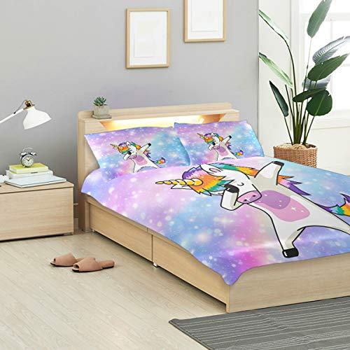 ALAZA Bedding Sets 3 Piece Dabbing Unicorn Rainbow Purple Galaxy Kids Duvet Cover Set with Zipper, Best Teen Girls Bedding Gifts Set Children Bed Set,No Comforter