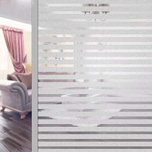 Film Fenetre Anti Regard Electrostatique Film pour Vitre Occultant Non-Adhésif Anti UV Protége Intimité pour Bureau Maison Salle de Bain Chambre Cuisine (Blanc, 45*200CM)