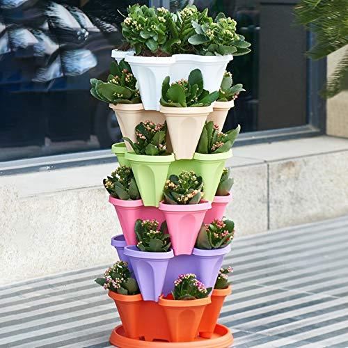 SUFUBAI 6 vasi impilabili da giardino a quattro petali, impilabili e impilabili, per fiori di fragola, vasi da giardinaggio fai da te per fiori di fragola
