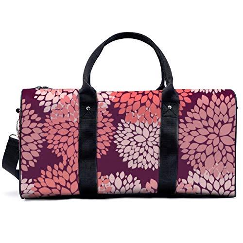 Bolsa de deporte para gimnasio, con fondo floral sin costuras, en coral y burdeos, bolsa de yoga, bolsa de hombro, bolsa de viaje, bolsa de viaje para hombres y mujeres