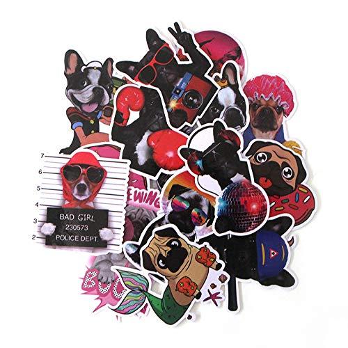 BAIMENG Lindo Perro Pegatina Caja de Viaje monopatín refrigerador portátil Doodle Dibujos Animados PVC Pegatina Impermeable 15 Piezas