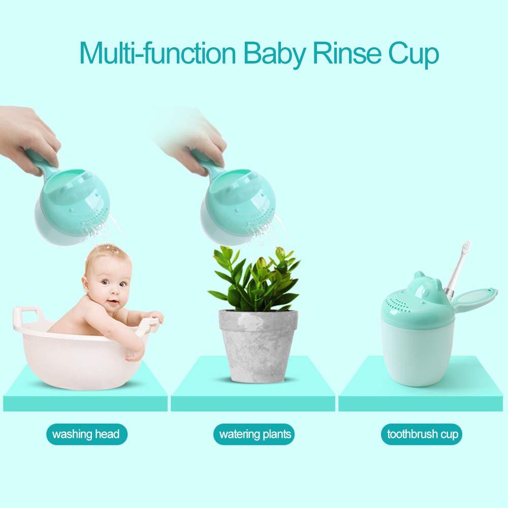 UNAOIWN Baby Bath Waterfall Rinser Kids Shampoo Rinse Cup Newborn Bath Shower Washing Head (Cup, Green)
