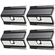 EZBASICS Solar Lights Outdoor 32 LED, Waterproof Solar Motion Sensor Light, Wireless LED Solar Powered Security Wall Light, Black Shape, 4 Pack