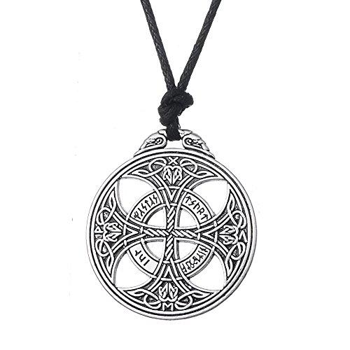 fishhook Collar con Colgante de Cruz Celta vikinga y Amuleto con símb