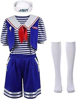 Stranger Things Robin Scoops Ahoy Disfraz de Halloween para Mujeres y niños Incluye Horse Clip Pants T-Shirt Calcetines Bow Hat Traje Azul Marino