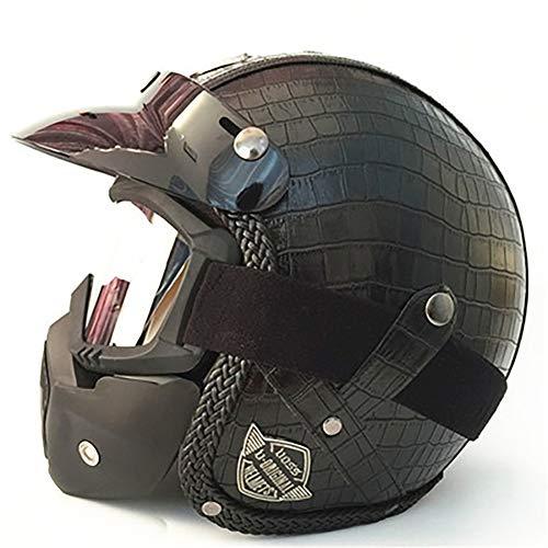 Erwachsener Helm Leder handgefertigt Jahreszeiten Vintage Helm Vintage Harley Helm Motorrad Motor Auto 3/4 Helm Halbhelm für Erwachsene vollständig CE-zertifiziert-9-XL