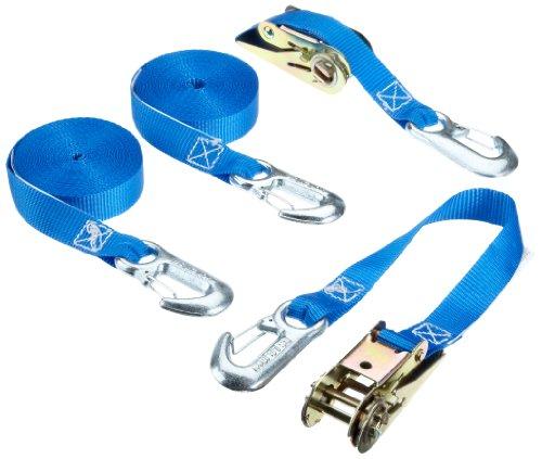 Braun Spanngurt 800 daN, zweiteilig, für Privattransporte, nach DIN EN 12195-2, geeignet, Farbe Blau, 6 M Länge, 25 mm Bandbreite, mit Ratsche und Karabinerhaken, 2er Set.