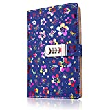 SouUHE - Cuaderno de notas, diario con diseño de flores, tamaño A5, con candado y contraseña