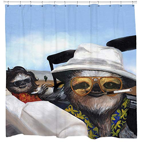 Wasserdichter & schimmelresistenter Duschvorhang Sharp Shirter Weird Sloth Set Psychedelisches Filmplakat Western Theme Mancave Badezimmerdekor 180x180cm