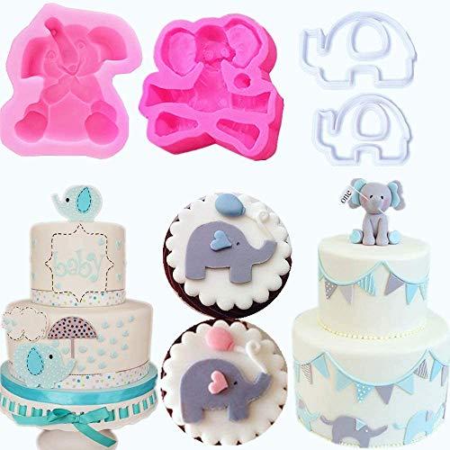 JeVenis 3D-Elefanten-Kuchenform für Babyparty, Elefant, Fondant, Kuchendekoration, Elefant, Babyparty, Partyzubehör, 4 Stück