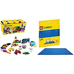 Product 1: Contains a wide range of LEGO bricks in 35 different colors Product 1: Includes 18 tires and 18 rims Product 1: The special elements include an 8 x 16 cm base plate, a window with frame and 3 pairs of eyes Product 1: All illustrated models...